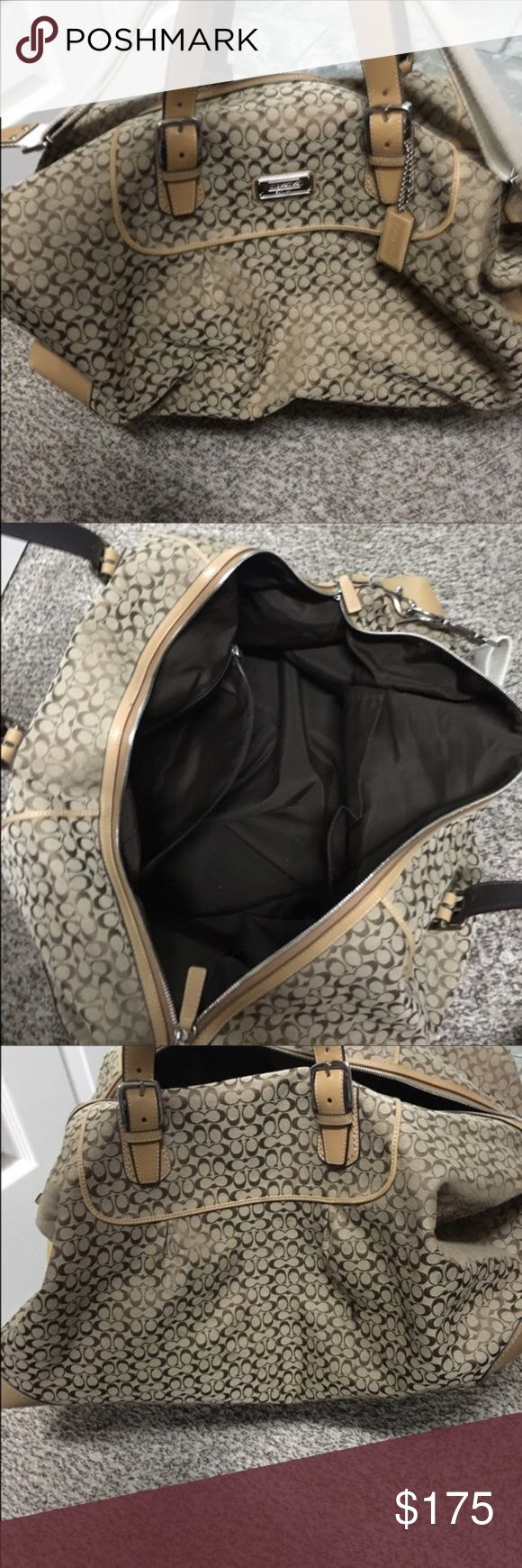 COACH TRAVEL BAG Gently used, Large authentic Coach Travel Bag.  Excellent condition.  Strap included. No stains.  Willing to negotiate. Coach Bags Travel Bags