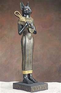 The Egyptian cat goddess Bastet with sistrum