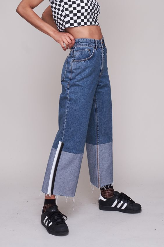 e1b79d4a250c Wide leg skater jean with reverse denim trim and raw hem. Autumn 18  Collection