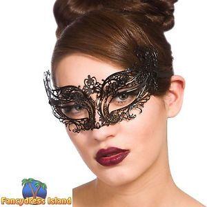 BLACK METAL LASER CUT EYEMASK VICTORIAN BALL adult ladies fancy dress costume | eBay
