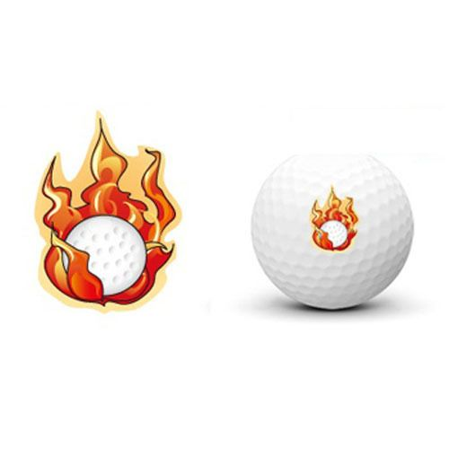 Golf Ball Transcription Sticker Marker Fire Ball Design Sports Funny Tattoo  #Unbranded