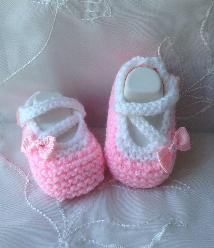 Chaussons ballerine bébé taille 3 mois rose et blanc : Mode Bébé par tricot-bonnie