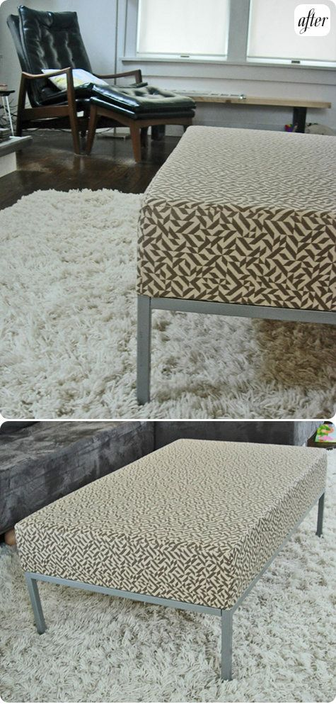 DIY ikea table-to-ottoman hack - http://www.designsponge.com/2009/08/before-after-a-tale-of-2-ikea-hacks.html