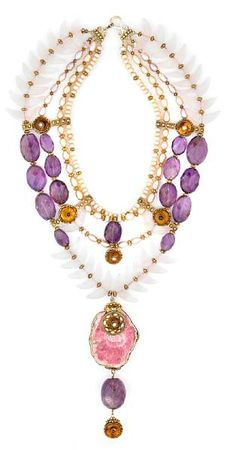 Beaded gemstone necklace by Tony Duquette...