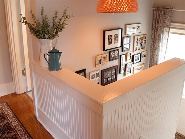 Sturdy/childproof rail at top of staircase (via Posie gets Cozy)