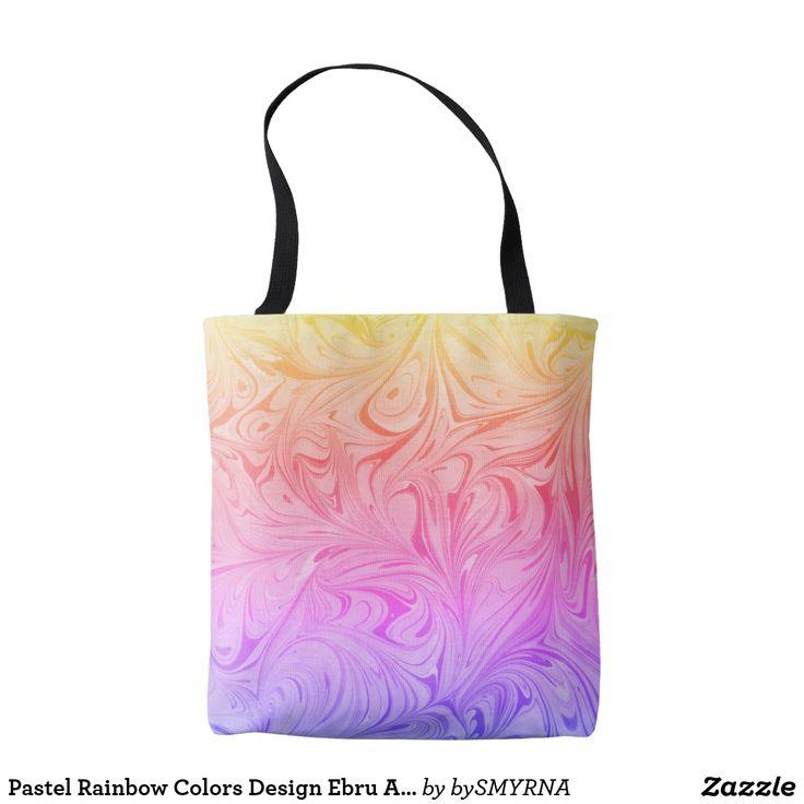 Pastel Rainbow Colors Design Ebru Art Pattern D#1