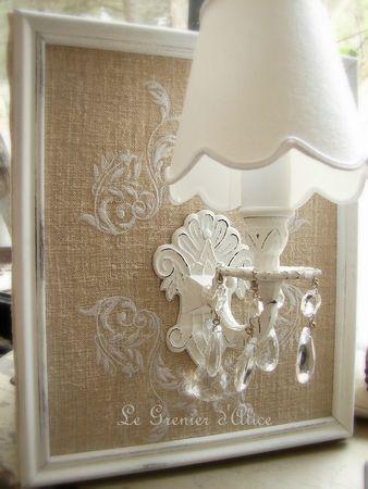 Applique ancienne pampilles abat jour festonné broderie chanvre patine blanc shabby chic decoration de charme