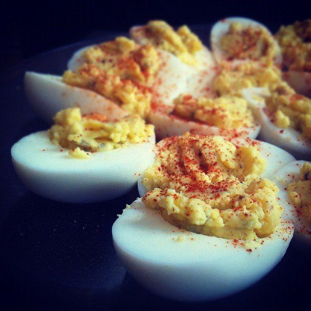 Spicy deviled eggs a halved hard boiled egg is a blank for Table 52 deviled eggs recipe