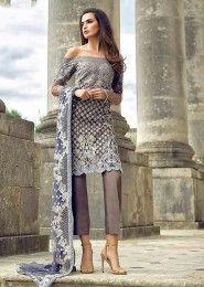 Party Wear Grey Net Heavy Embroidery Work Salwar Kameez