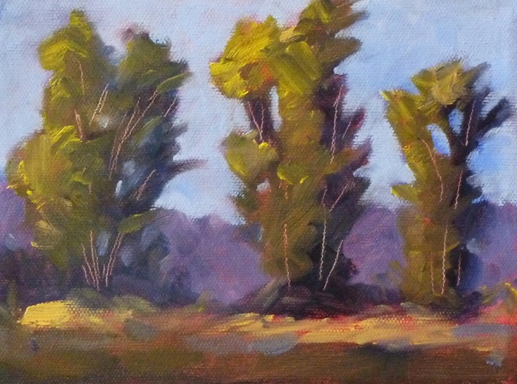 Landscape Oil Painting, Tree Line on Canvas, 6x8 Original, Prairie Trees, Rural Country Scene, Wall Decor. $75.00, via Etsy.