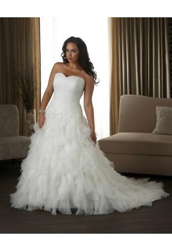 Robe de mariée grande taille organza bustier applique dentelle
