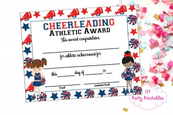 INSTANT DOWNLOAD  Cheerleading Certificate  by OTPartyPrintables