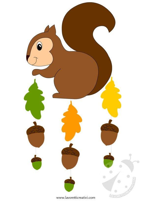 Pendente con scoiattolo, ghiande e foglie da attaccare sulle finestre o sulle pareti della classe nel periodo autunnale. Non dimentichiamo però anche la ca