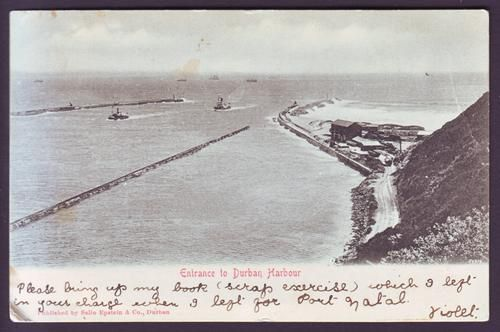 Port Natal is renamed Durban in honour of Sir Benjamin D'Urban, governor of the Cape Colony from 1834 - 37.  Image from http://images.bidorbuy.co.za/user_images/245/1312245_111107223339_Durban_Harbour_postcard_front.jpg.
