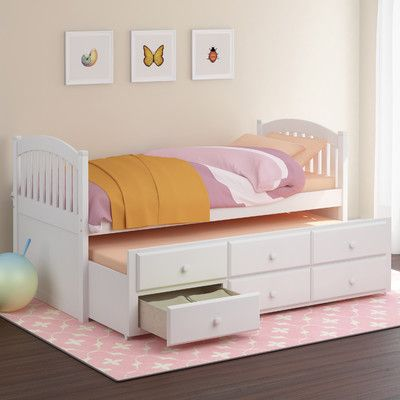 dCOR design Heritage Place Twin Trundle Bed with Drawers | Wayfair I like the idea of having a spare bed for cousins/friends who stay over and also having a few extra drawers