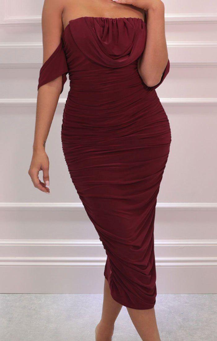 Wine Bardot Cowl Neck Ruched Midi Dress Malia 1000 In 2020 Ruched Midi Dress Midi Dress Midi Dress Bodycon