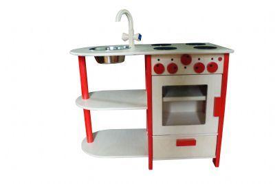 Keukenblok rood Een mooi en degelijk uitgevoerd keuken blok voorzien van : * draaiende knoppen. * Een opzij draaiende ovendeur. * opbergvakje * 4 fornuispitten * afwasbak met kraan. * diverse opbergmogelijkheden Gemaakt van massief berken materiaal, zeer sterk. Merk: van Dijk Toys Afmeting keukenblok rood : breedte 77 cm x diep 40 cm werkbladhoogte 62 cm