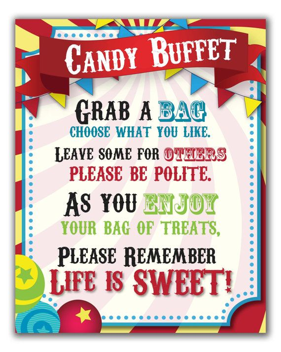 Circus Candy Buffet Sign  Carnival Theme by PaperBearSweets
