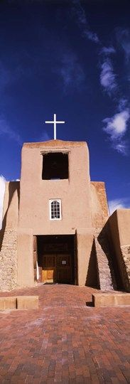 Facade of a church, San Miguel Mission, Santa Fe, New Mexico, USA