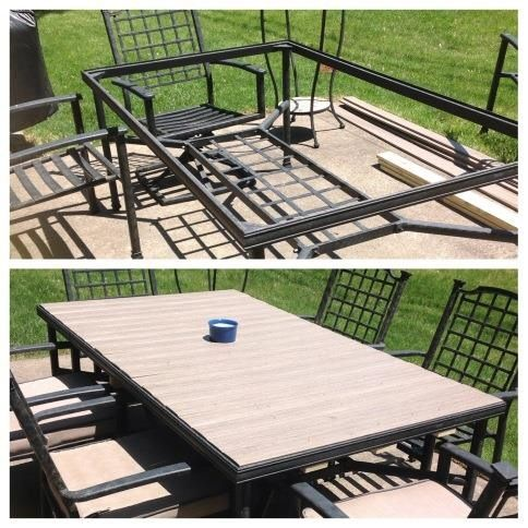 Broken glass tabletop replaced with composite wood decking. No maintenance and 1/2 the price of glass replacement. Thanks honey for making my idea reality!