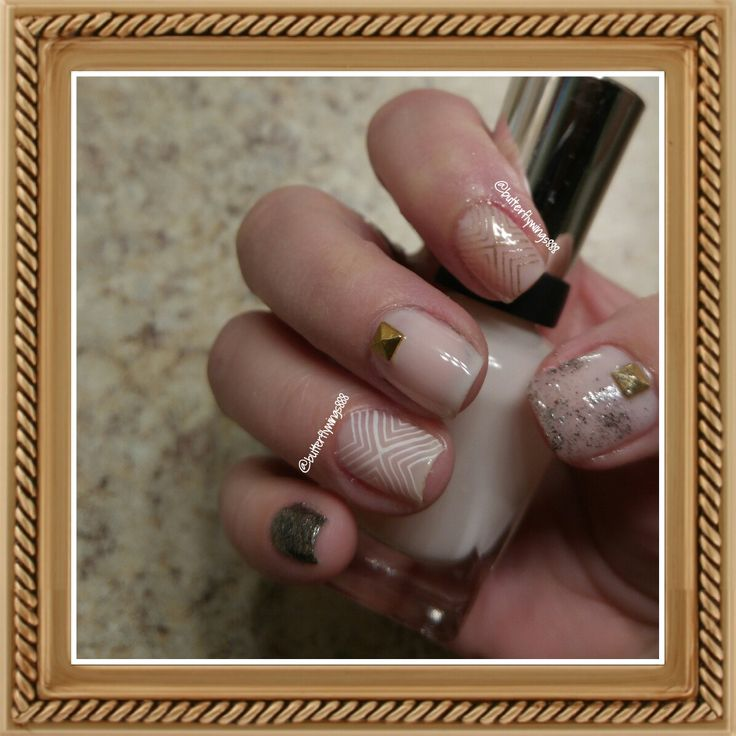 #nail art #nudecolours #white # gold #glitter #mix&match