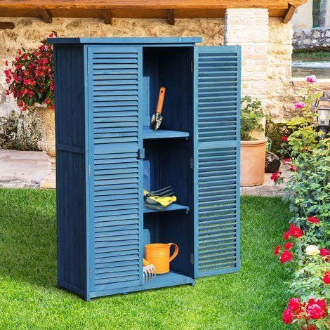 Outsunny Double Door Garden Shed Storage Tool Outdoor Backyard Fir Wood - 845-066BU - Garden and Outdoor