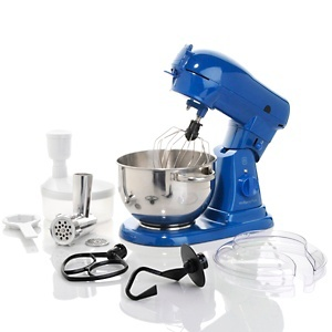 Wolfgang Puck Commercially Rated 700-Watt Stand Mixer with Food Grinder Attachment at HSN.com.  Hey now I can make homemade sausages
