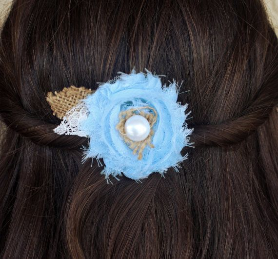 Country Wedding Burlap Wedding Hairpiece - Rustic Wedding Western Wedding Shabby Chic Burlap Flowers Bridesmaid Hair Flower Girl Hair Clip on Etsy, $14.99