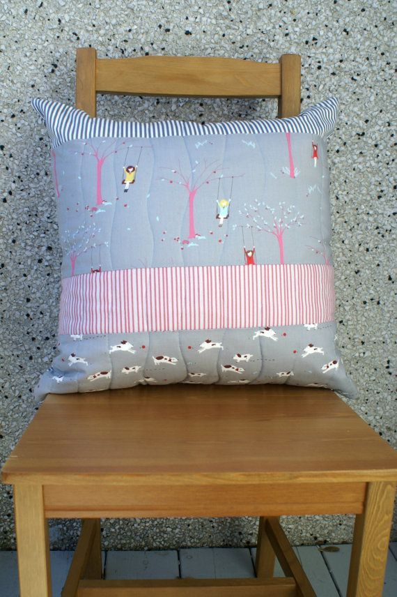 Grey Pink Large Quilted Cushion Cover with Zipper