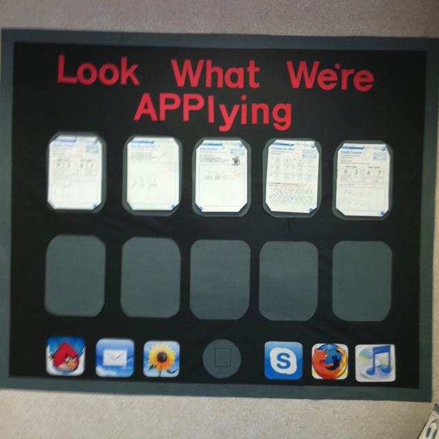 """My large iPad / iPhone bulletin board. My students LOVE """"Angry Birds,"""" so this was a great motivator!"""