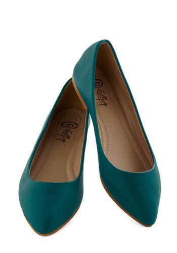Defined the Scenes Flat in Teal - Blue, Solid, Casual, Flat, Good, Faux Leather, Work, Minimal, Variation, Basic