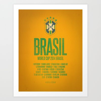 Brasil World Cup 2014 Celebrative Artwork Art Print by The Soccer Supply