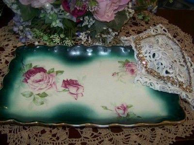 victorian vanity trays   Gorgeous Victorian green pink red rose pin vanity  tray antique - 113 Best Victorian Vanity Trays Images On Pinterest Vanities