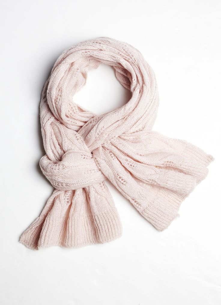 Cleo | Light pink pointelle knit scarf with ribbed edge and gold lurex ...