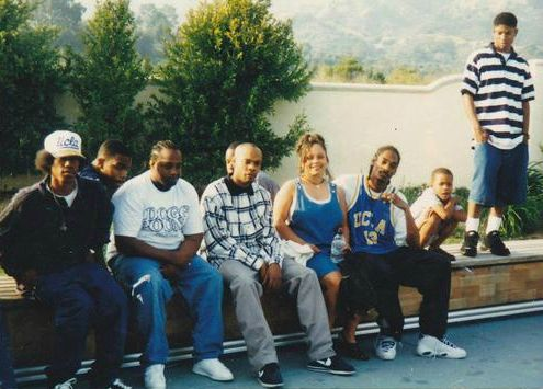 DPGC Roll Call! From left: Bad Azz (E/S Insane LBC), Daz Dillinger (E/S Rollin' 20s LBC | 19th St. set). 4th from left: Soopafly (Crip). 3rd from right: Snoop Dogg (E/S Rollin' 20s LBC). Right: Techniec (Crip). (Photo: c.1996)