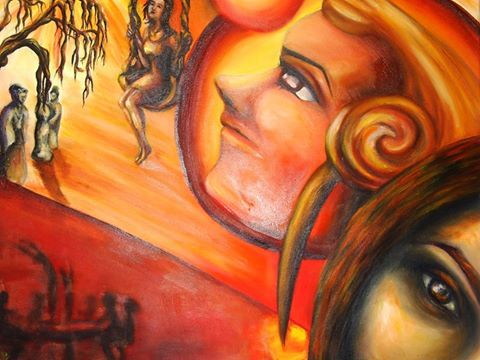 """Thoughts on Childhood Memories"" - acrylic on canvas/ acrilic pe pânză, size: W: 60cm / H: 48cm"
