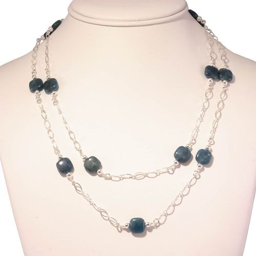 Elas Jewellery Box - CS226 - Double standed Apatite stone bead necklace with sterling silver chain
