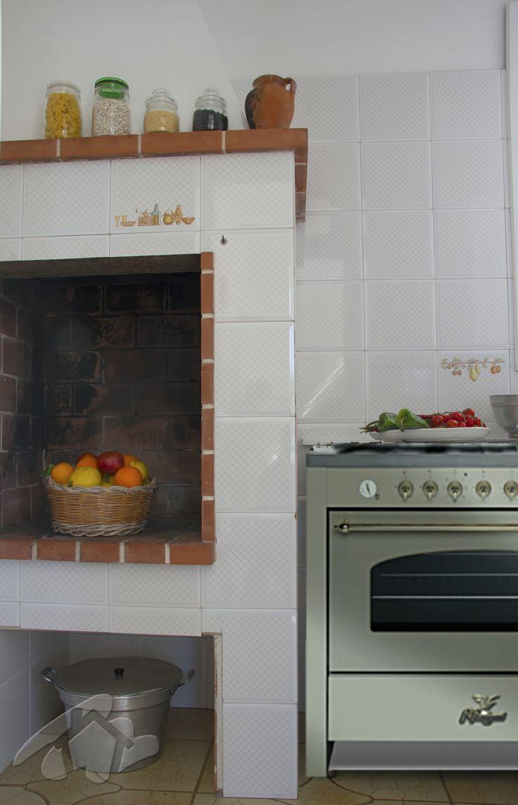 Cucina con caminetto