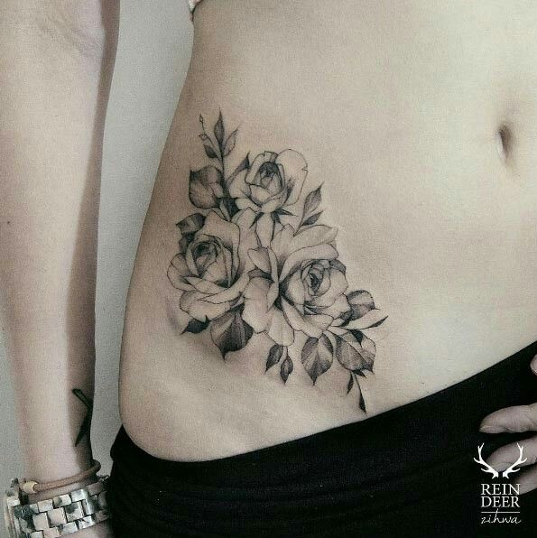 25 beautiful rose hip tattoos ideas on pinterest hip tattoos black and gray ink rose front hip tattoo urmus Image collections