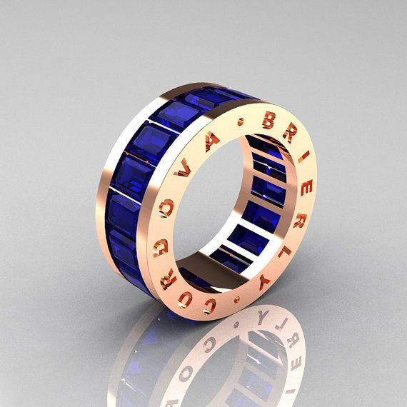 Mens Modern 14K Rose Gold Blue Sapphire Channel by artmasters, $1749.00