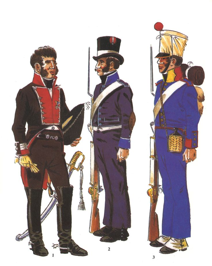 Tropas Castellano-Leonesas creadas durante la Guerra de Independencia:   1 - Coronel de los Granaderos de Castilla 1812-14 2 - Voluntario de la Milicia Urbana de Zamora 1808 3 - Fusilero de la Milicia Urbana de Alcazar de San Juan 1813-14