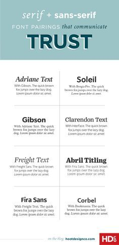 Perfect for resumes, pitches, or corporate materials –Font pairings communicate trust by using balanced proportions, steady shapes and stable balance. These 8 pairings are all extremely trustable and would be great for magazines and newspapers in addition to business marketing materials. | Hoot Design Co.