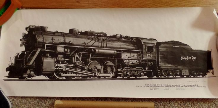 Nickle Plate Road Locomotive Print Alvin F. Staufer Copyright 1969