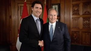 Prime Minister Justin Trudeau with the muslim leader Aga Khan He spent New Years with him.This guy is like the pope to Catholics