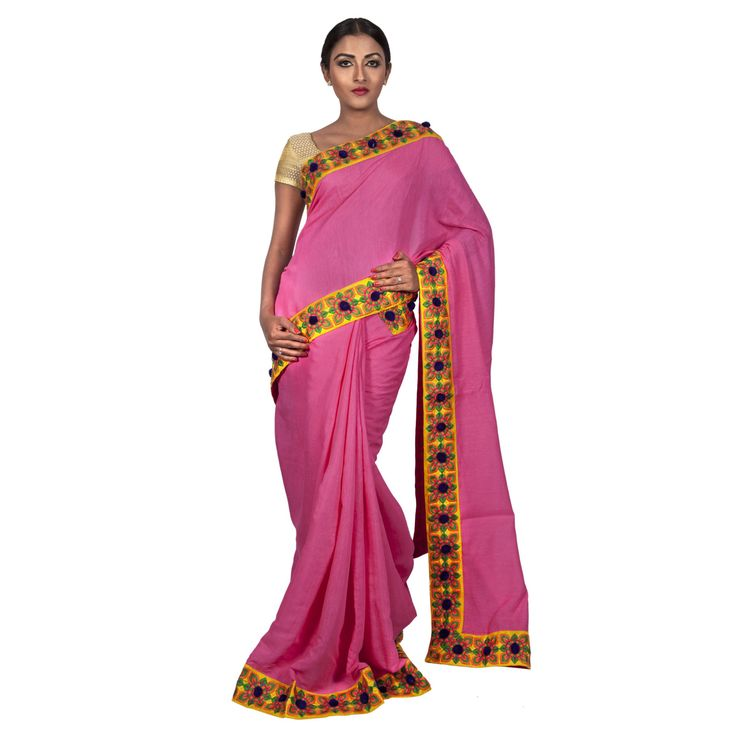 Festive Flora Linen Pink Party Sari with Embroidered Floral Border. For Price and more information, visit http://shopping.threadturner.com/sarees/