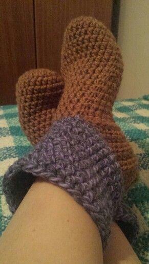 Pantuflas tejidas a crochet