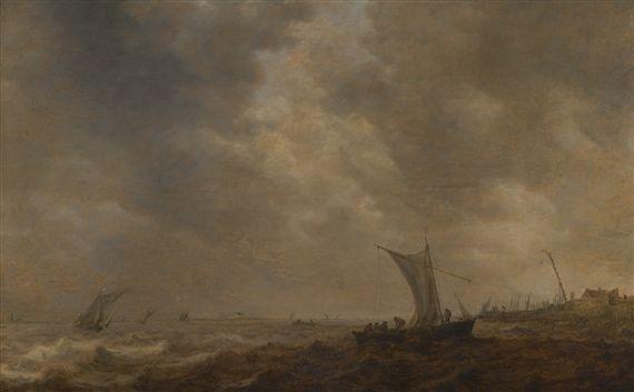 jan van goyen COASTAL LANDSCAPE WITH FISHING BOATS ON CHOPPY WATERS