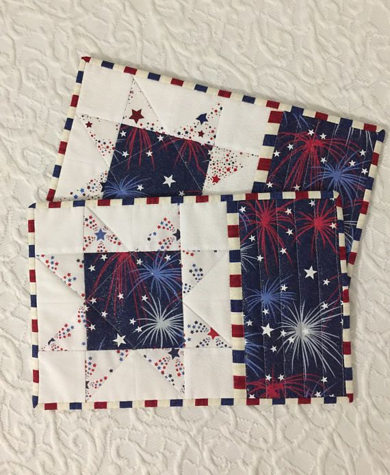 Patriotic Mug Rugs, Place Mats, Candle Mats, Red, White, Blue, Sawtooth Star, Fireworks, Fourth of July, Independence Day, Memorial Day