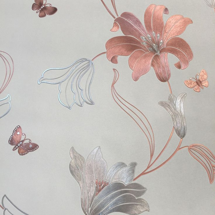An elegant heavy weight metallic floral wallpaper with rose gold and silver metallic flowers, leaves and butterflies on a smooth grey stone background. The metallic foil looks stunning as it shimmers inthe light.
