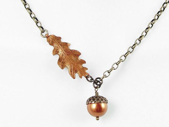 Vintaj Brass and Copper Mixed Metal Acorn and Oak Leaf Necklace    I make the sweet little acorn drop in this necklace with rich, copper